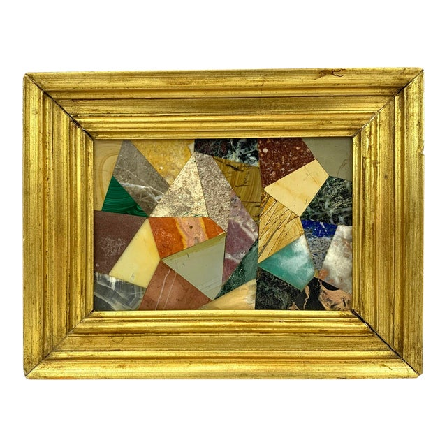 G. Ugolini Italian Pietra Dura Stone Framed Abstract Mosaic Artwork For Sale