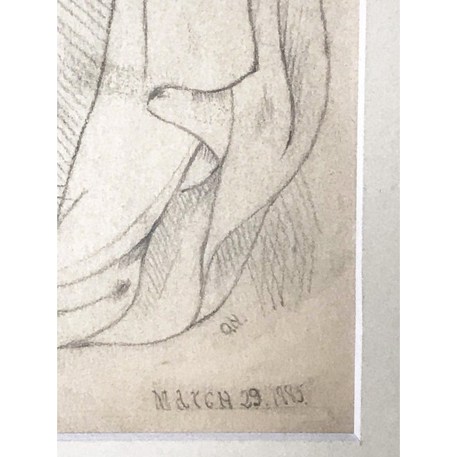 19th Century 19th Century Neoclassical Drawing of a Greco Roman Male Nude For Sale - Image 5 of 7
