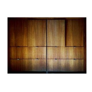 1970s Danish Modern Dillingham Walnut Conjoined Twin Enclosed Storage Cabinets - a Pair For Sale