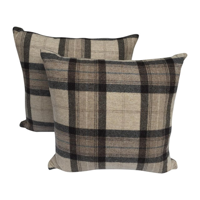 Scottish Wool Plaid Pillows - A Pair For Sale
