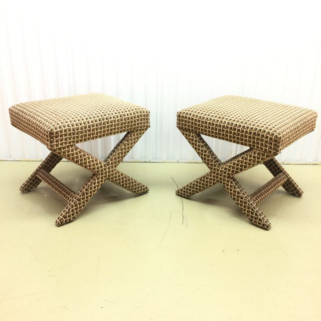 Upholstered X Ottoman Benches - A Pair - Image 2 of 7