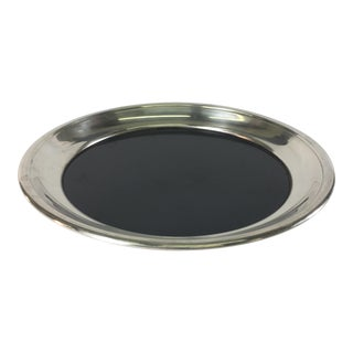 1960s Silver-Plate & Laminate Round Tray For Sale
