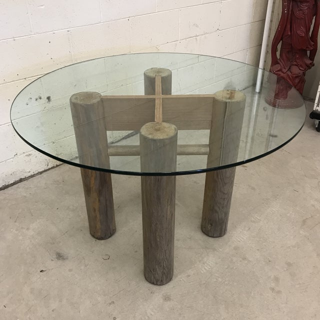 Americana Vintage Glasss Top Log Base Dining Table For Sale - Image 3 of 12