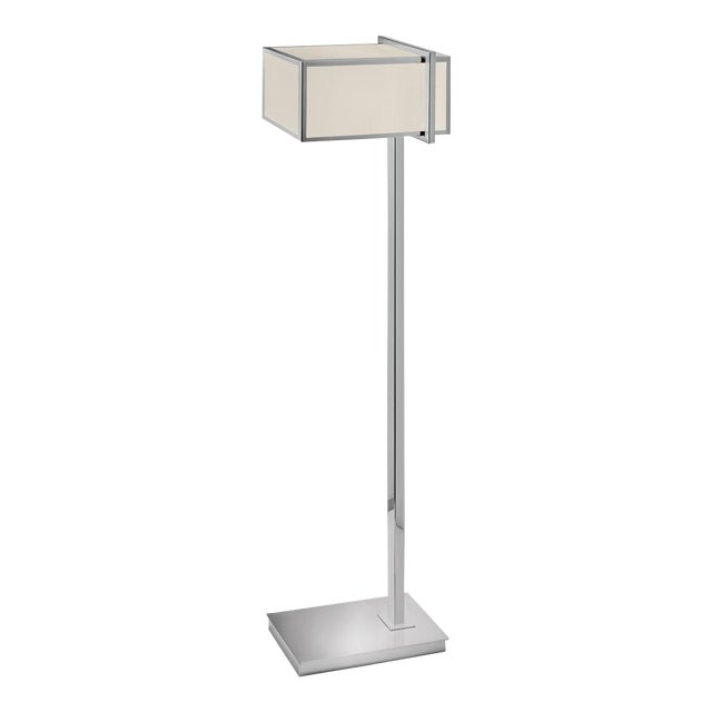 A rectangular metal polished chrome frame with oyster fabric diffuser. Price includes shade. Black silk covered cable....