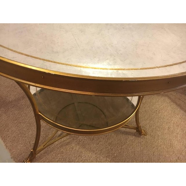 1970s Hollywood Regency Style Gilt Based Eglomise & Mirror Top Gueridon Centre Table For Sale - Image 5 of 10