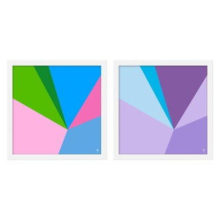 "Medium ""Fractured Brights Ii, Set of 2"" Print by Wendy Concannon, 30"" X 15"" For Sale"