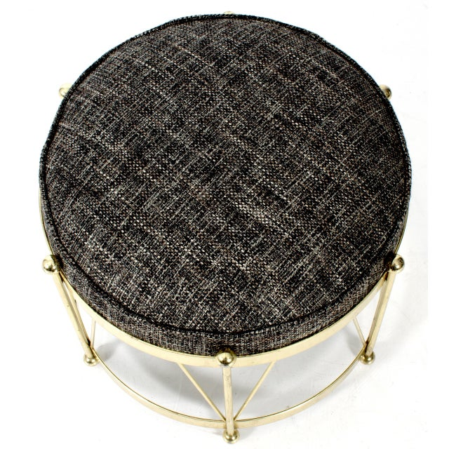 Mid-Century Modern Round Polished Brass Drum Stool - Image 4 of 4