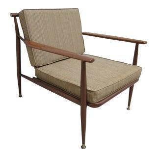 1960s Vintage Danish Modern Metal Low Slung Lounge Chair For Sale