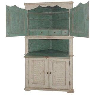 18th Century Scandinavian Danish Painted Secretaire or Corner Cabinet For Sale