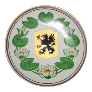 Upsala Ekeby Sweden Wall Plate Black Dragon White Water Lily For Sale