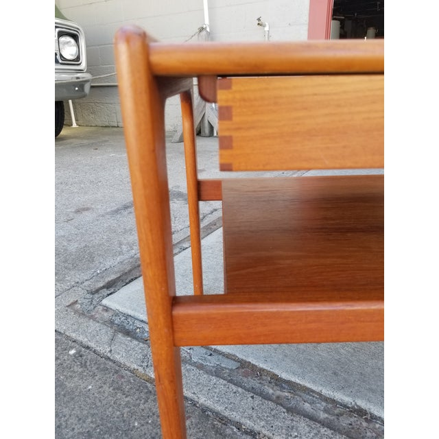 Teak Danish Modern Side Table With Drawer For Sale - Image 9 of 11