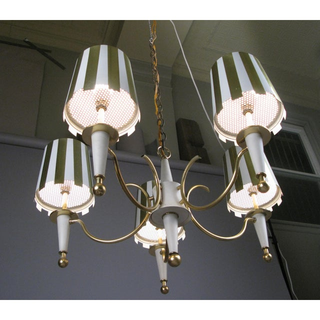 1960s Brass & White Lacquer Five-Light Chandelier For Sale - Image 4 of 6