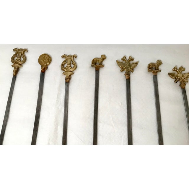 I really like these unique skewers with the brass ends. The brass ends include lyres, coins, dogs, birds. They vary in...