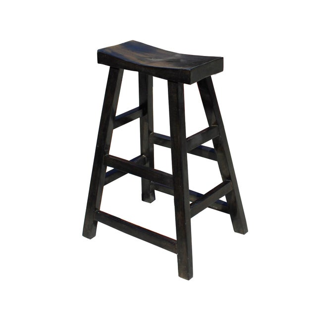 Asian Simple Distressed Semi Gloss Black Tall Wood Stool Bar Stool For Sale - Image 3 of 7