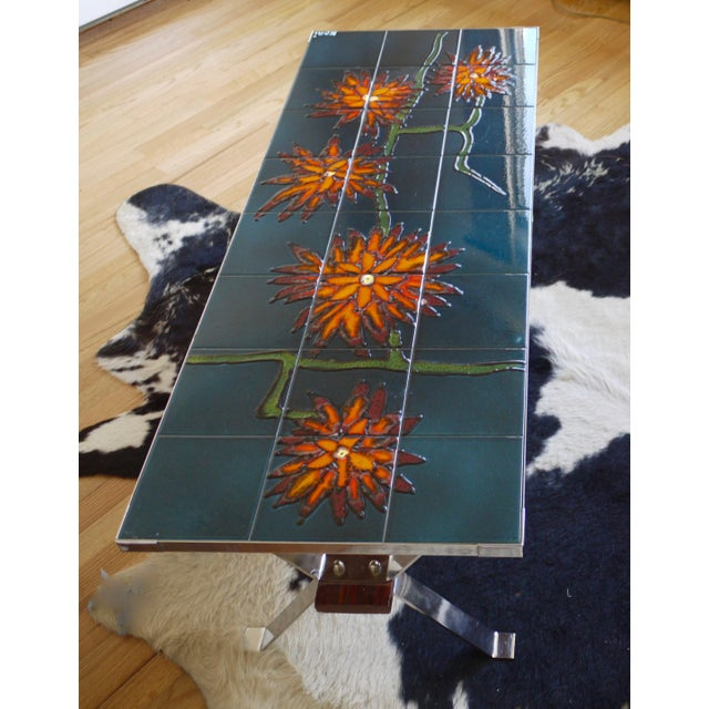 Metal 1960s Bold Vallauris Tile Low Table For Sale - Image 7 of 11