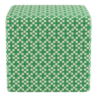 Cube Ottoman in Green Hopscotch For Sale