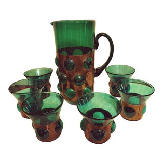 Felipe Derfingher Art Deco Caged Green Glass Brass Sleeve Amber Bubble Mexican Art Glasses - Set of 7 For Sale