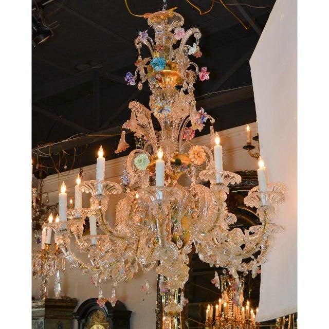 Gold Antique Venetian Multi-Color Blown Glass Chandelier For Sale - Image 8 of 11
