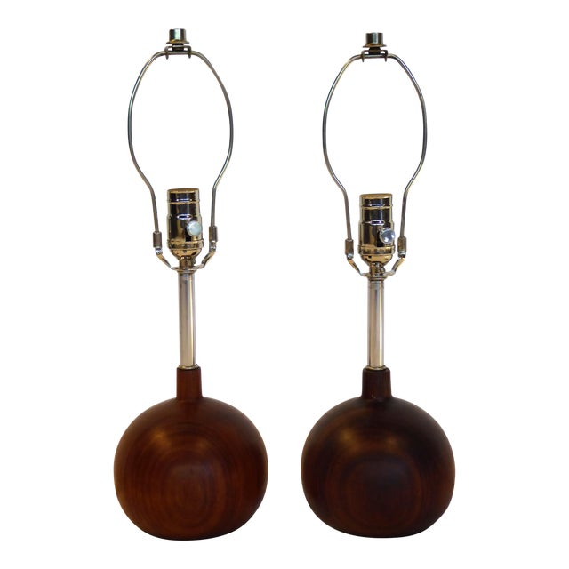 Danish Modern 1960s Brazilian Rosewood Orb Table Lamps Denmark - a Pair For Sale
