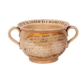 1830s Antique English Creamware Chamber Pot For Sale