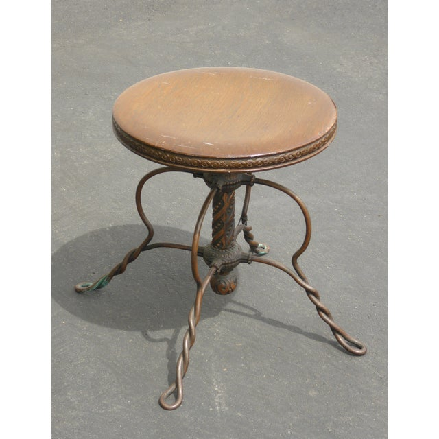 1950s Vintage 1950's Spanish Style Ornate Wrought Iron Swivel Stool For Sale - Image 5 of 13