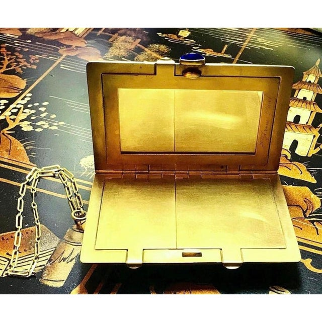 1910s Vanity Case With Chain Handle and Jeweled Clasp For Sale - Image 4 of 7