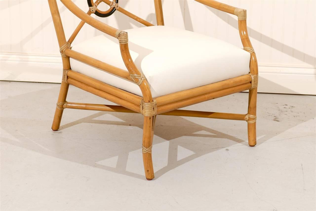 Beautiful Pair Of Vintage Bamboo Target Back Lounge Chairs By McGuire    Image 7 Of 10
