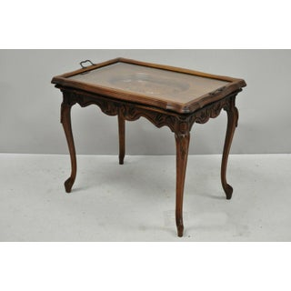 Antique French Louis XV Style Small Walnut Glass Tray Top Figural Coffee Table Preview