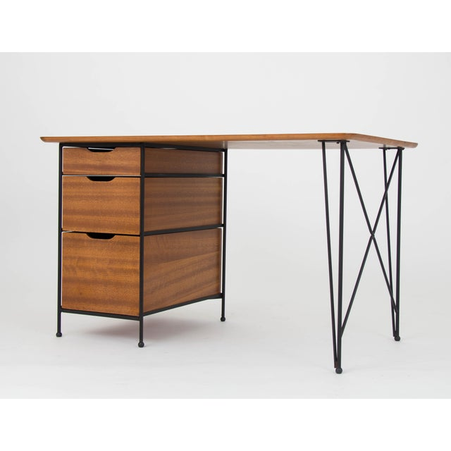 Modernist Desk in Mahogany and Enameled Steel by Vista of California - Image 4 of 9
