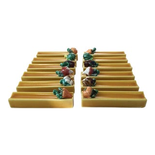 1950s Vintage Vallauris Majolica Vegetables Knife Rests- Set of 12 For Sale