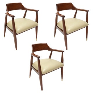 1960's Walnut Armchairs - Set of 3 For Sale