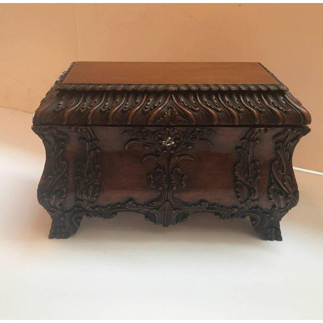 1990s Maitland-Smith Carved Mahogany Hinged Tea Caddy Box For Sale - Image 11 of 13