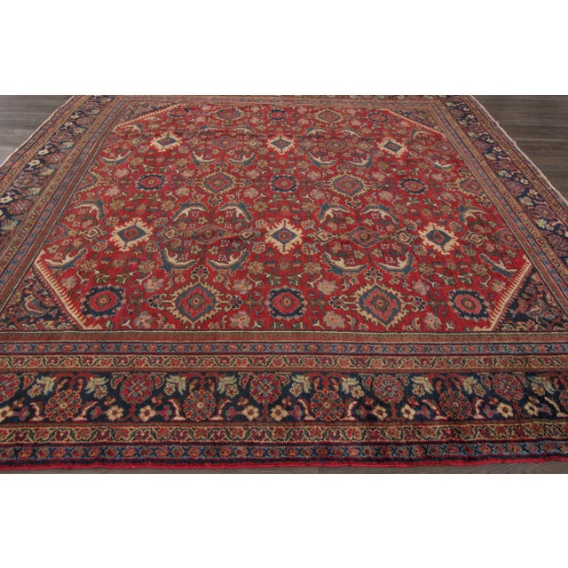 A hand-knotted vintage Mahal rug with an allover design. This piece has great detailing and beautiful colors. It would be...