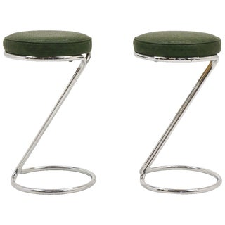 Pair of Z-Counter Height Barstools by Gilbert Rohde for Troy Sunshade Co. Signed For Sale