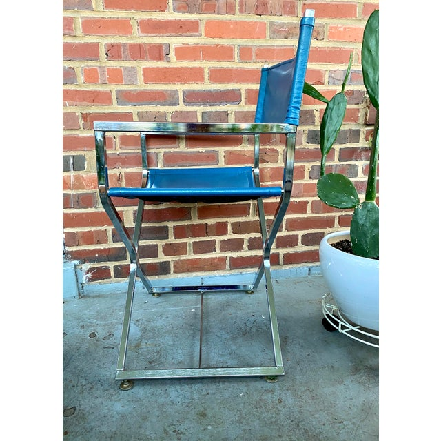 Campaign Vintage Blue and Chrome Milo Baughman Director's Chair For Sale - Image 3 of 11
