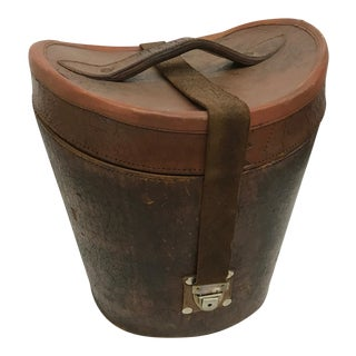 Antique English Leather Hat Box For Sale