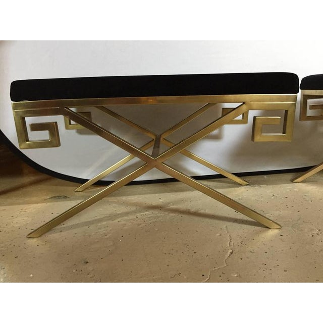 """Hollywood Regency Greek Key """"X"""" Benches - a Pair - Image 4 of 6"""