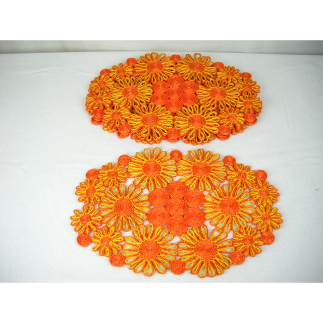 1970s Floral Raffia Placemats - Set of 4 - Image 5 of 9
