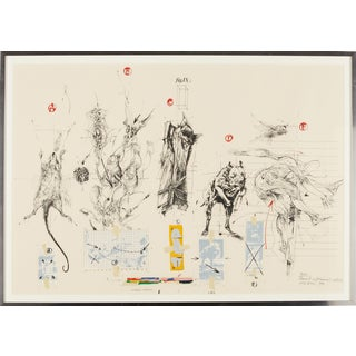 "Large ""Elements & Documents Utilises"" Lithograph by Vladimir Velickovic, France For Sale"