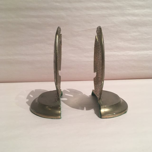 Mid-Century Modern Vintage Solid Brass Dollar Shell Bookends - A Pair For Sale - Image 3 of 6