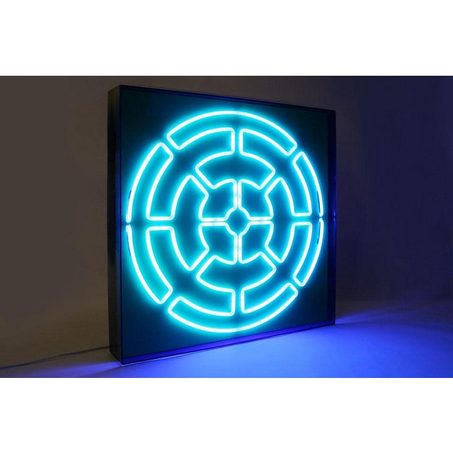"""Christopher Sproat """"Blue Radiance"""" Mandala Neon Sculpture by Christopher Sproat For Sale - Image 4 of 6"""