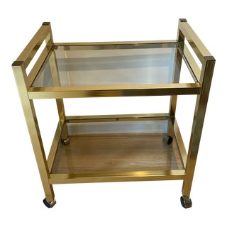 1960s Vintage Brass Bar Cart For Sale