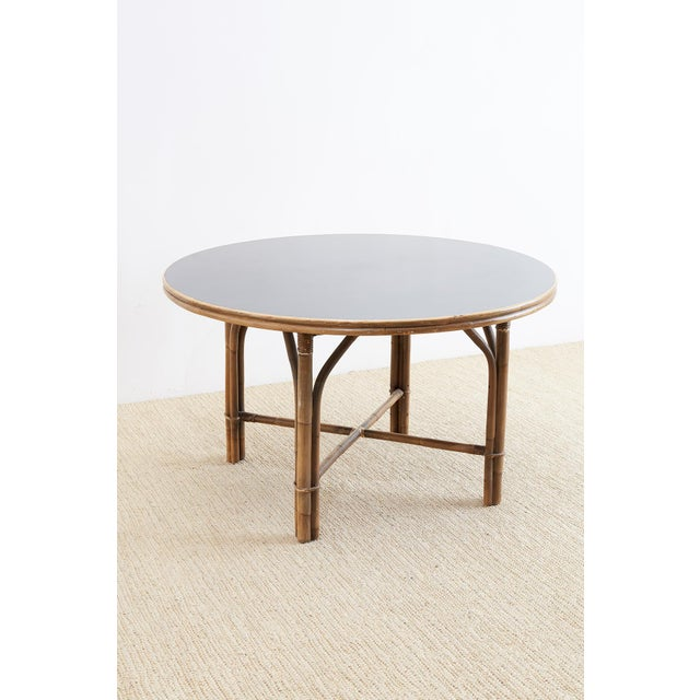 Ficks Reed Midcentury Rattan Dining Table For Sale - Image 9 of 13