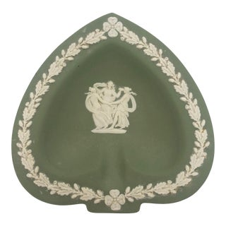 Vintage Green Wedgewood Jasperware Vanity Tray For Sale