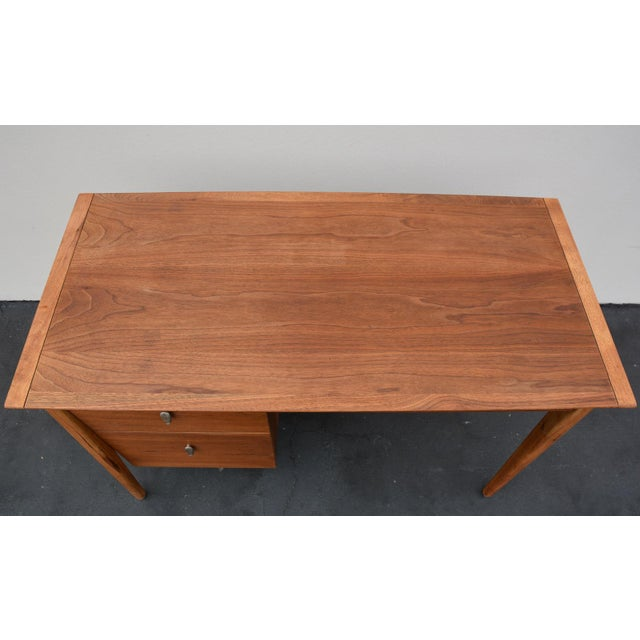 Mid-Century John Van Koert for Drexel Profile Walnut Floating Desk For Sale In Los Angeles - Image 6 of 10