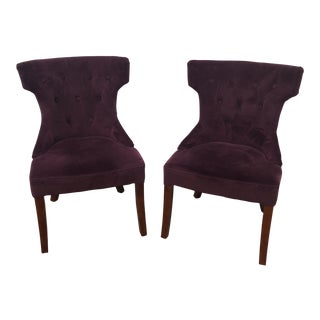 Purple Velvet Side Chairs - a Pair For Sale