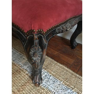Coral Ultra-Suede Carved Wood Leg Ottoman Preview