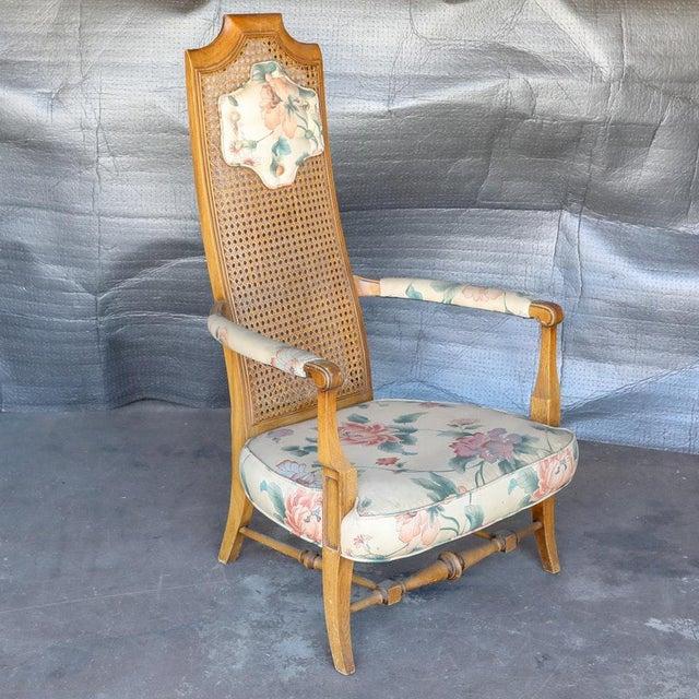 Folk Art 1920s Folk Art Blonde Cane Back Floral Print Armchair For Sale - Image 3 of 11