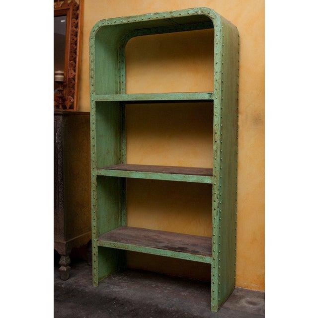 Green Industrial Steel & Teak Wood Bookshelf - Image 2 of 4