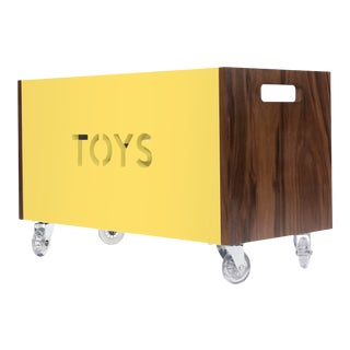 Toy Box Chest on Casters in Walnut With Yellow Finish For Sale